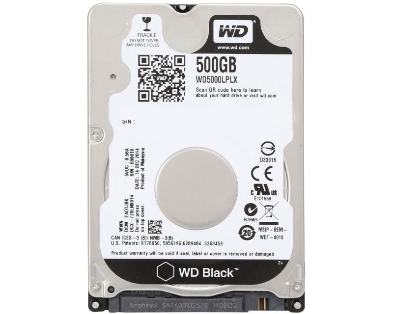 WD 500GB 2.5 SATA III 32MB 7.200rpm WD5000LPLX Black