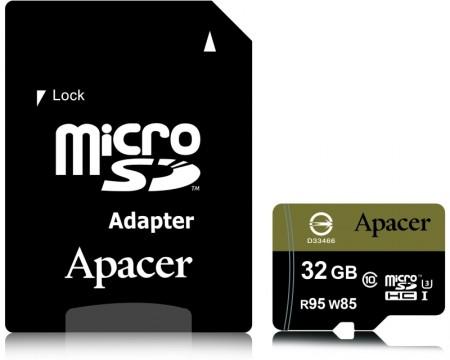 APACER UHS-I U3 MicroSDHC 32GB class 10 + Adapter AP32GMCSH10U4-R