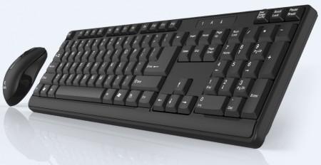 Click KM-L2-W Tastatura i miš bežični USB, US, crni