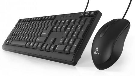 Click KM-L0 Tastatura i miš žičani USB, US, crni
