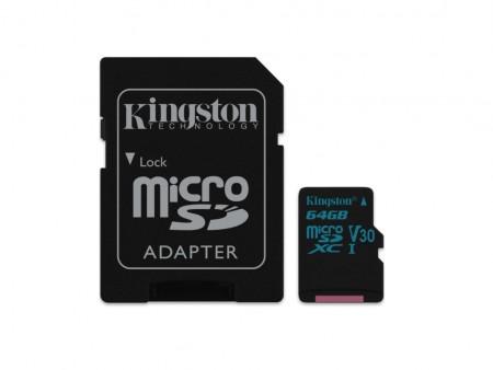Kingston microSD 64GB 90MBs-45MBs, UHS-I U3 + SD adapter SDCG264GB' ( 'SDCG264GB' )