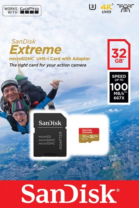 SanDisk Extreme microSDHC 32GB + SD Adapter for Action Sports Cameras - works with GoPro