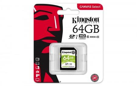 Kingston SDXC 64GB Class 10 U1 UHS-I SDS64GB 80MBs, 10MBs