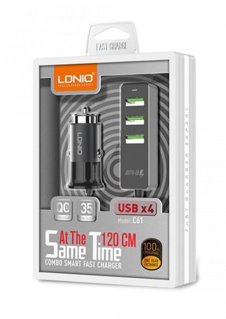 LDNIO Car charger 1x Q.C3.0 + 3xUSB ( C61 )