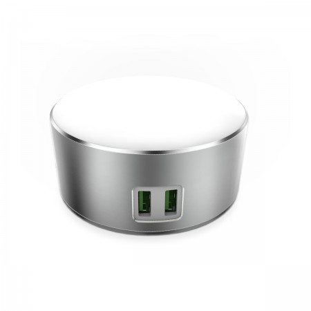 LDNIO USB Charger 2 Ports 5V/2.4A 12W with LED Lamp Silver  ( A2208 )