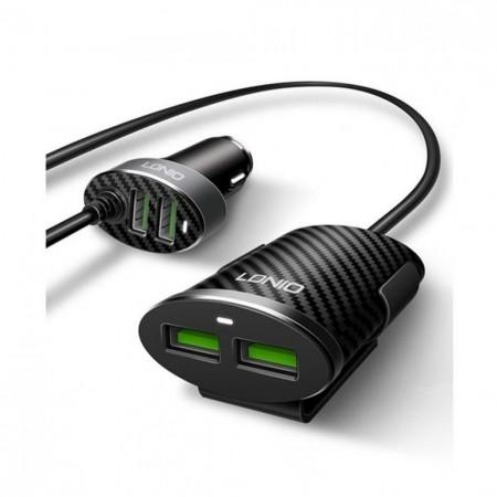LDNIO USB Car Charger 4 USB Ports 5V/5.1A 25.5W Black ( C502 )
