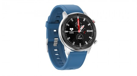 Smart Watch DT78 Blue Silicone Strap - Silver Watch (  )