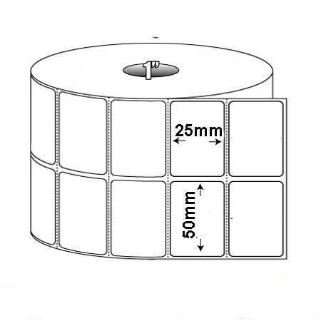 Rolna etiketa bela termo 50x25 2 kolone 4000kom DT