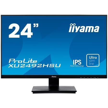 IIYAMA Monitor Prolite, 24 ULTRA SLIM LINE, 1920x1080, IPS-panel, 4ms, 250 cdm2, Speakers, VGA, HDMI, DisplayPort, USB-HUB ( XU2492HSU-B1
