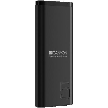 CANYON Power bank 5000mAh Li-poly battery, Input 5V2A, Output 5V2.1A, with Smart IC, Black, USB cable length 0.25m, 120*52*12mm, 0.120Kg (