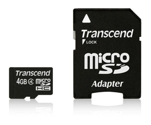 MICRO SD  4GB TRANSCEND + SD adapter TS4GUSDHC4